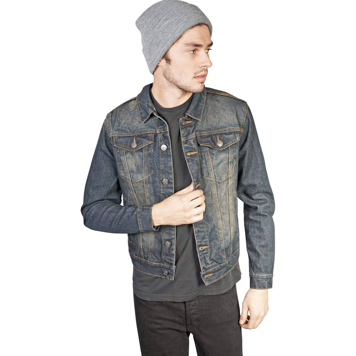 Lip Service Mens Vintage Washed Slim Fit Denim Trucker Jacket-Salemonster