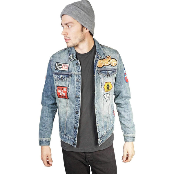 Kill City Mens Vintage Washed Patched Denim Trucker Jacket-Salemonster
