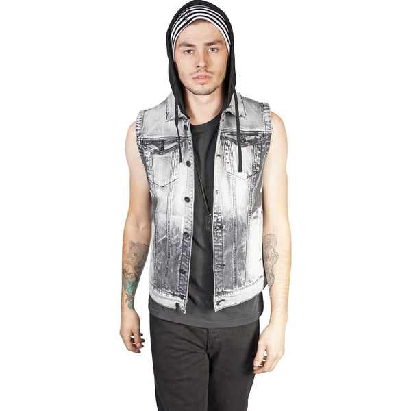 Kill City Bleached Hooded Denim Vest - Salemonster