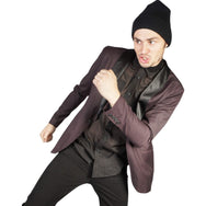 Kill City Mens Shawl Burgandy Suit Jacket-Salemonster