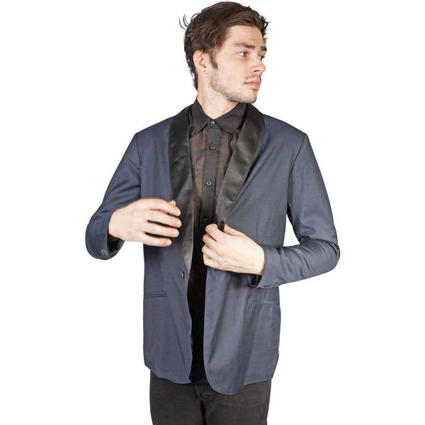 Kill City Mens Shawl Blue Suit Jacket-Salemonster