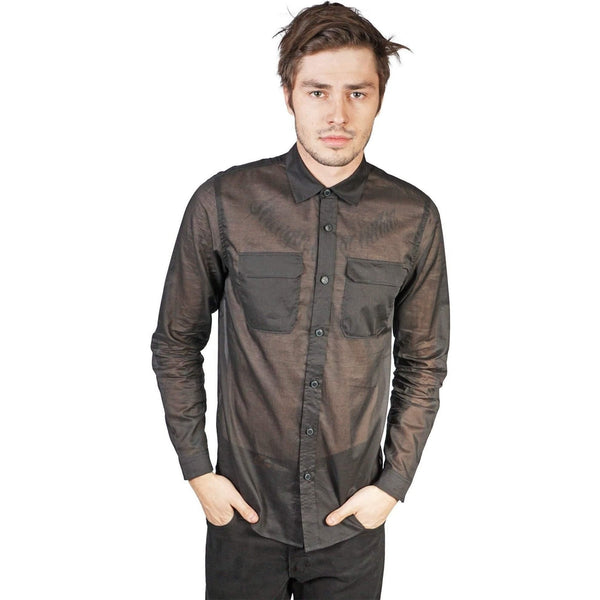 Kill City Mens Military Cut Shirt Light Weight Black Cotton-Salemonster