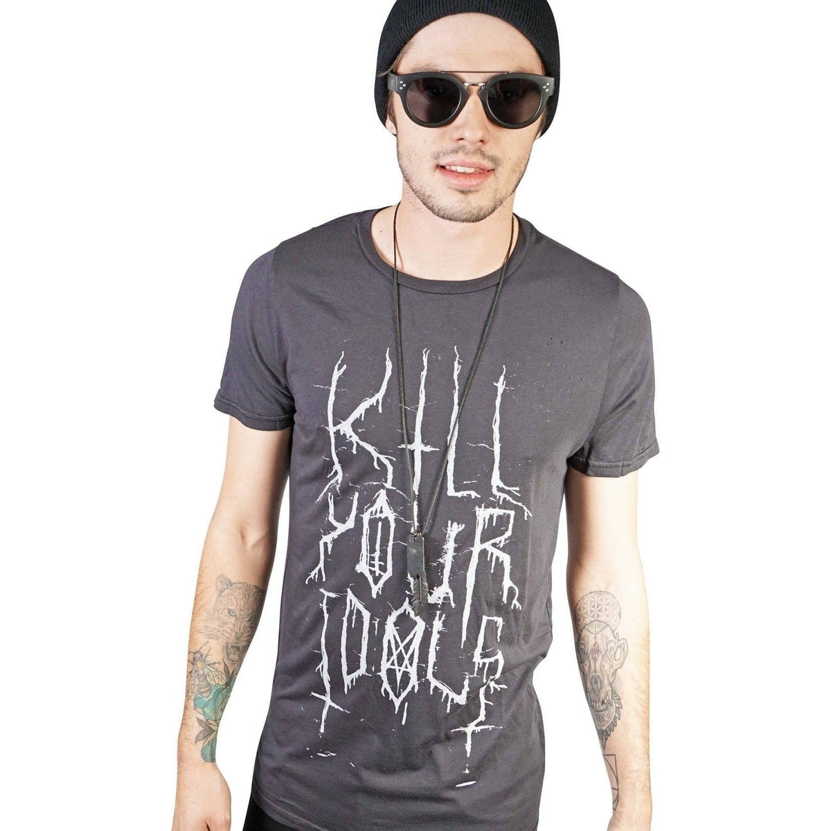 Kill City Mens Kill Your Idols Vintage Washed Loose Neck-Salemonster