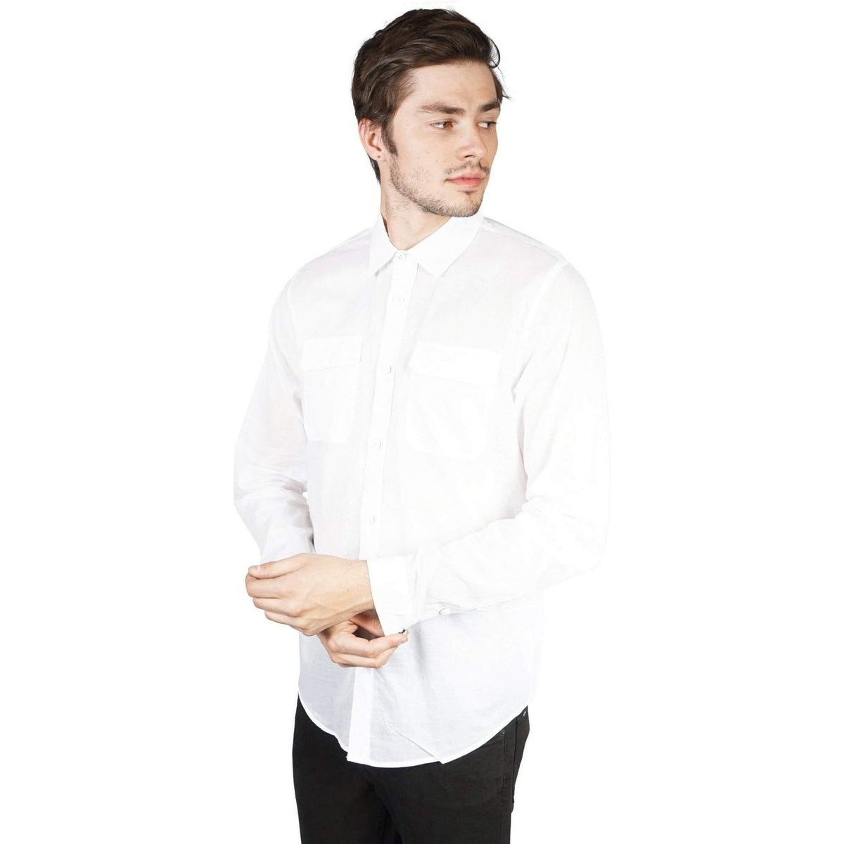 Kill City Mens Military Cut Shirt Light Weight White Cotton-Salemonster