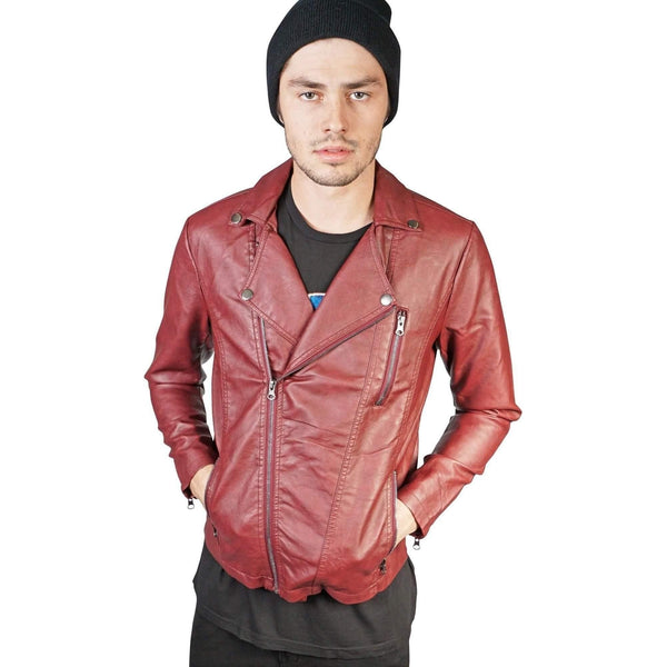 Kill City Men Wine Pu Moto Jacket-Salemonster