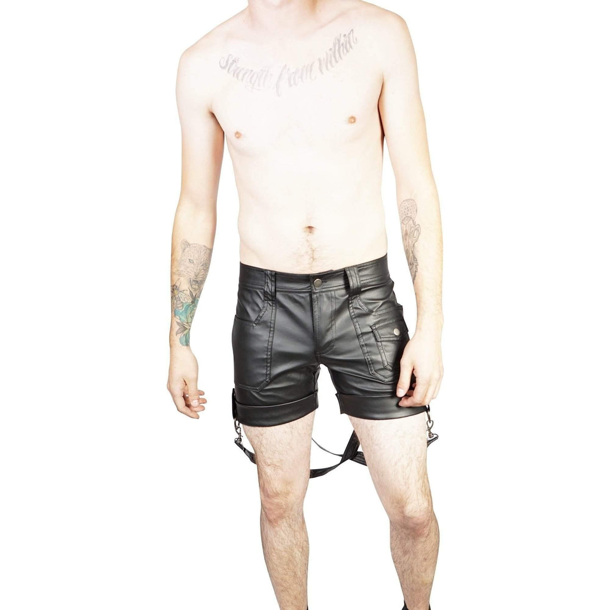 Lip Service Gothic Boy Scout Latex Look Shiny Black PVC Vinyl Bondage Shorts-Salemonster