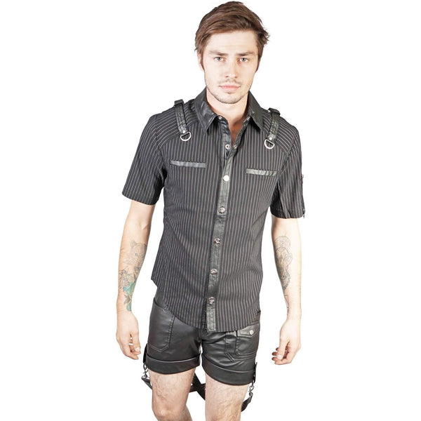 Lip Service Men Short Sleeved Pin Strip Shirt With Contrast Straps Sleeve Pocket-Salemonster