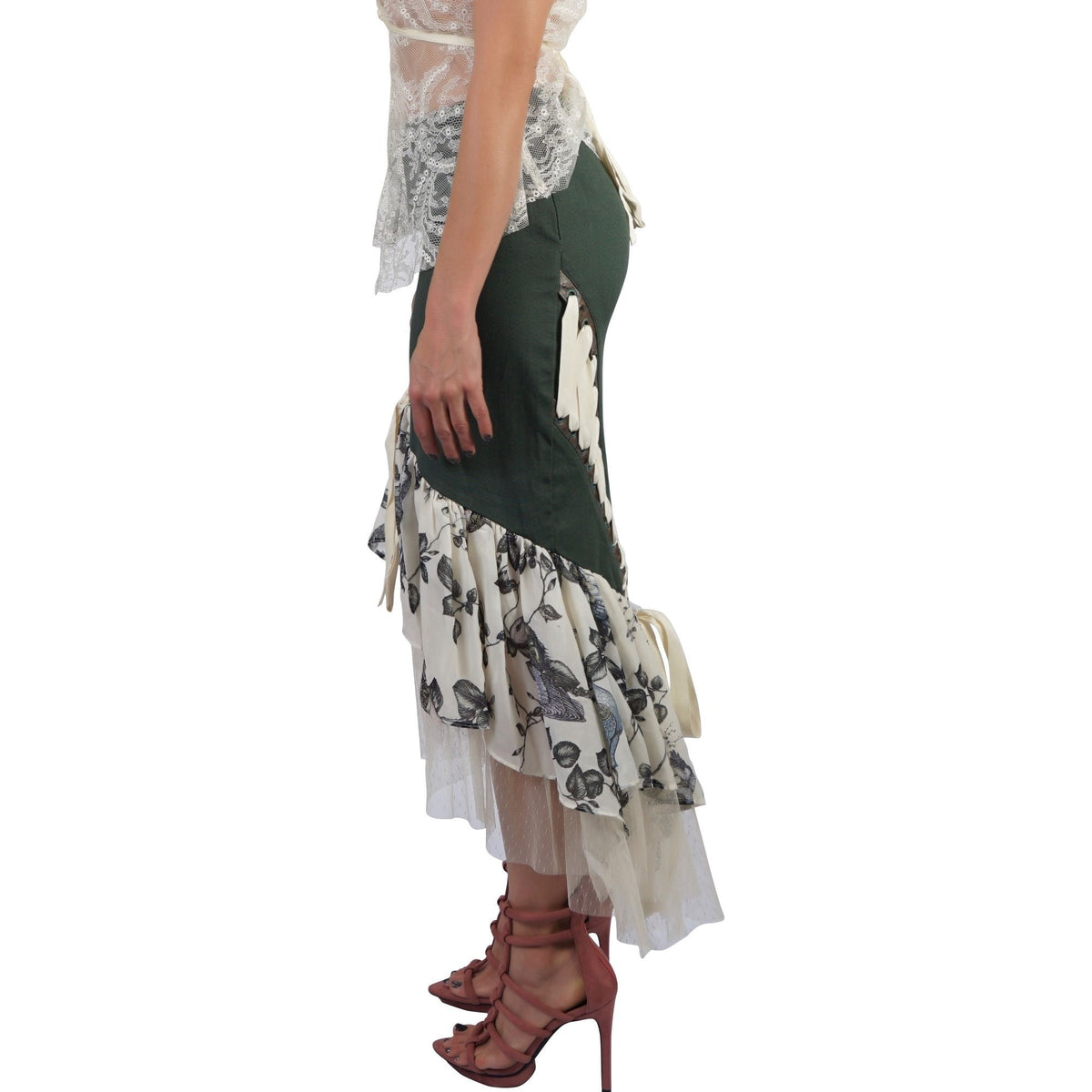 Lip Service Ladies Step In Time Steampunk Lace Up Fringe Skirt