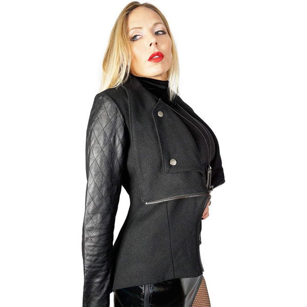 Kill City Quilted Leather & Wool Moto Jacket - Salemonster
