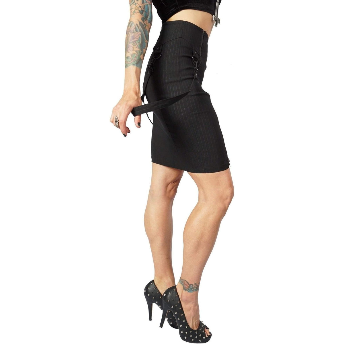 Lip Service Gangsta Pranksta Bondage Pencil Skirt Black With Black Zip And Lock-Salemonster