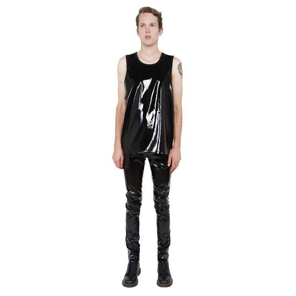 24HRS Black PVC Tank Top  - Unisex