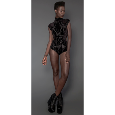 "Lip Service ""Geometric Burnout"" Velvet Bodysuit"