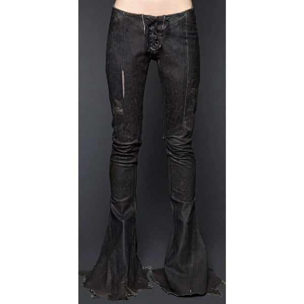Lip Service Leather Road Warrior Lace Up Black Flare Pants - Salemonster