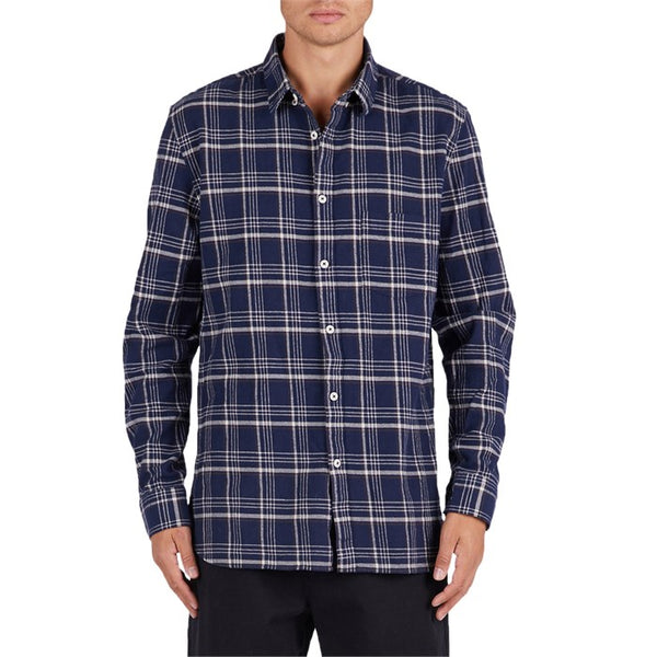 Barney  Cools Cabin Long Sleeve Shirt - Navy Plaid