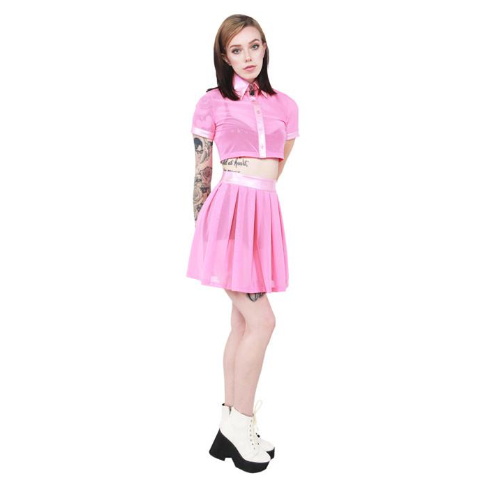 24 Hrs Behind The Pew Pleated Skirt - Pink