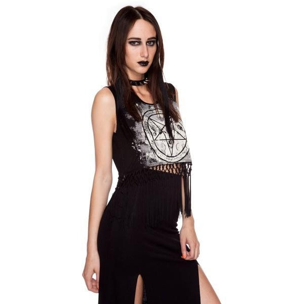 Lip Service Pentagram Fringe Crop Top