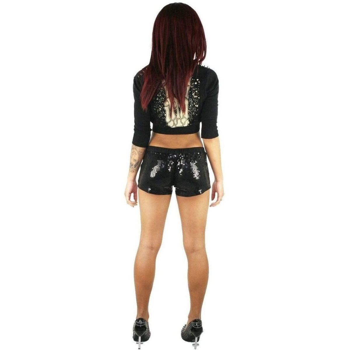 RAT BABY LADIES SEQUIN SHORTS BONES
