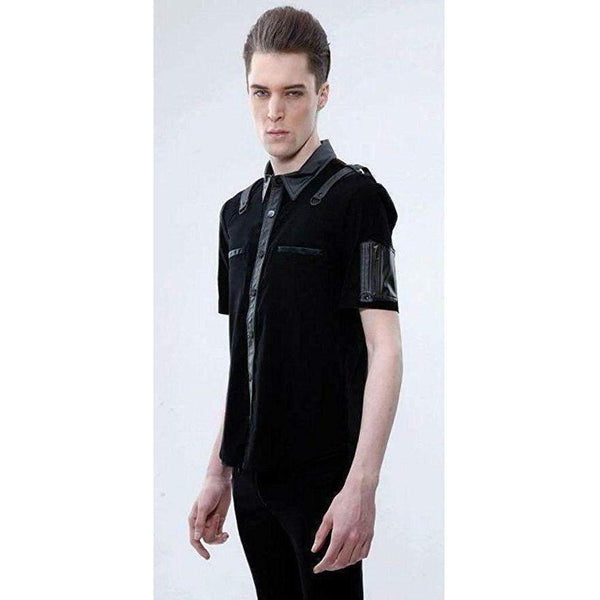 LIP SERVICE MEN SHORT SLEEVED SHIRT WITH CONTRAST STRAPS SLEEVE POCKET