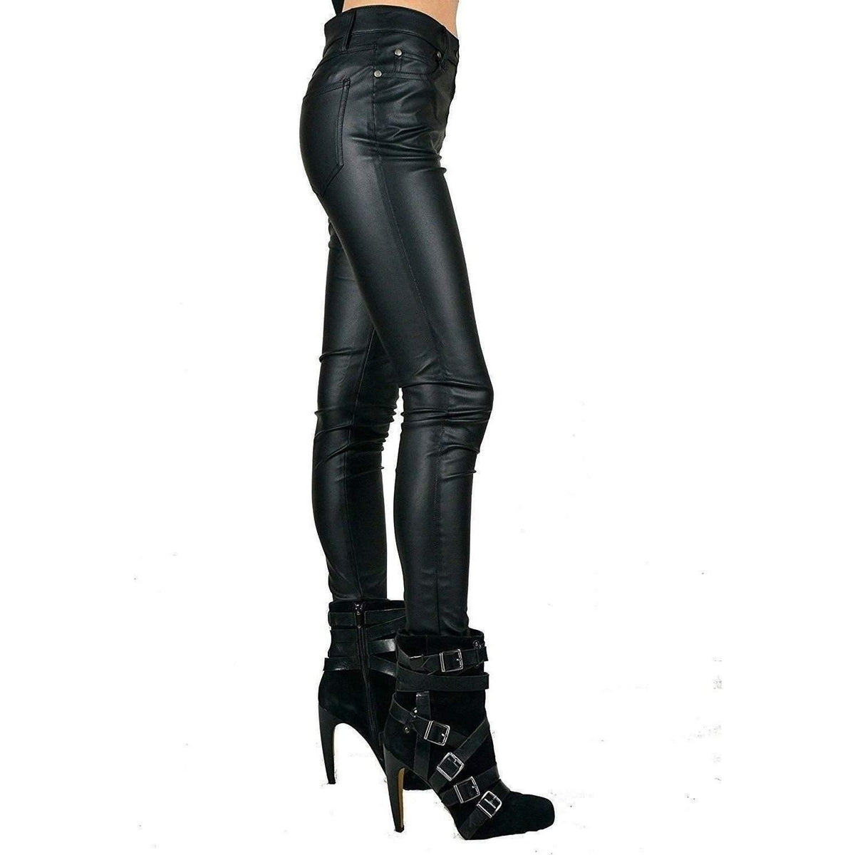LIP SERVICE 5 POCKET PEG LEG VEGIE BLACK JEANS IN PVC