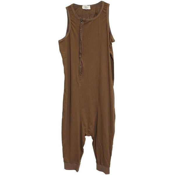 LIP SERVICE MEN'S GARMENT DYED JERSEY ZIP CHEST ONSIE 100% COTTON BROWN