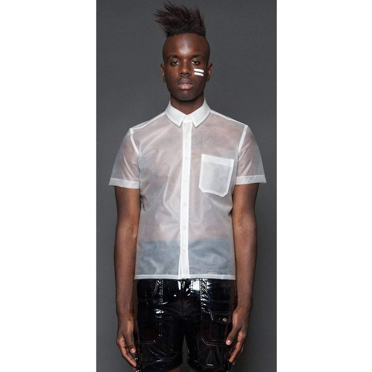 LIP SERVICE KINETIC CLEAR FROSTED RUBBER BUTTON UP SHIRT