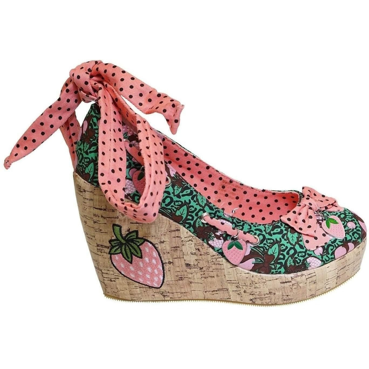 TOO FAST STRAWBERRY WEDGE SHOES