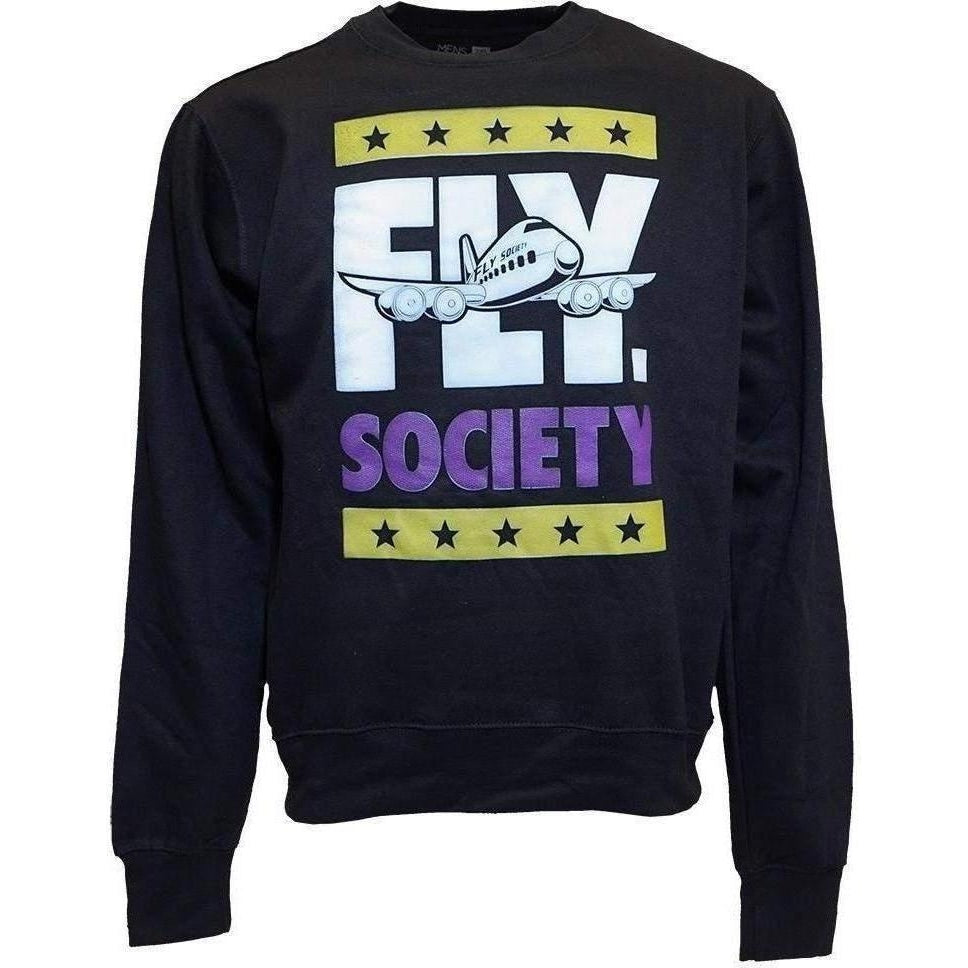 Fly Society Block Men Black Crewneck Sweatshirt