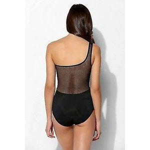 Out From Under Black Asymmetrical Bodysuit with Mesh Back