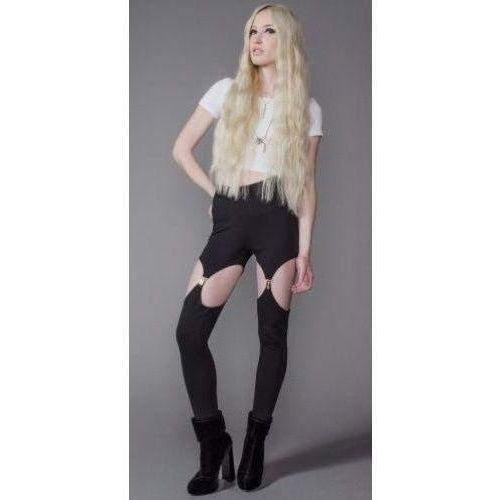 HOUSE OF WIDOW PONTI LEGGINGS WITH GARTER CLIP DETAILS AT OPEN LEG BLACK