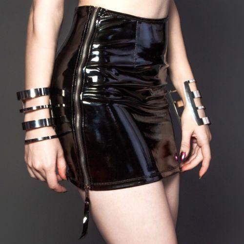 Lip Service Black PVC Zipper High Waisted Mini Skirt Gothic Punk Metal Club Vamp