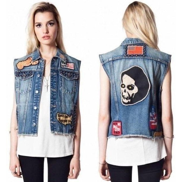 Kill City Denim Patch Studded Vest