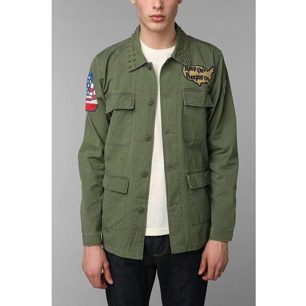 Men's Green Kill City Patched Military Jacket - Salemonster