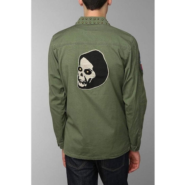 Men's Green Kill City Patched Military Jacket-Salemonster