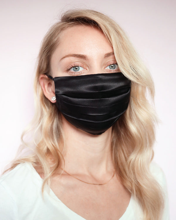 Silk Face Covering - Black