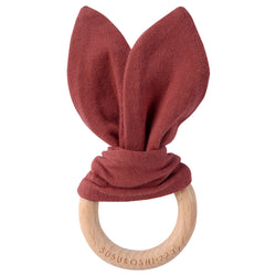 Organic Bunny Teether Toy - Burnt Orange