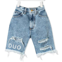 """DUO"" Printed Rippened Jeans Shorts - Light Washed"