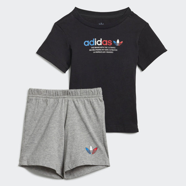 Adicolor Shorts & Tee Set - Black / Medium Grey Heather