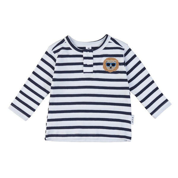 Cool Lion Henley - White + Navy Stripe - Tim and Gerry's Sydney
