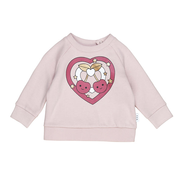 Cherry Heart Sweatshirt - Rose