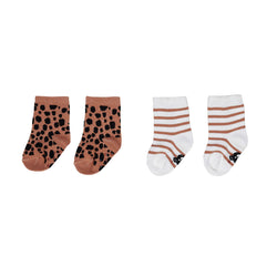 2PK Socks - Terracotta Stripe/Ocelot