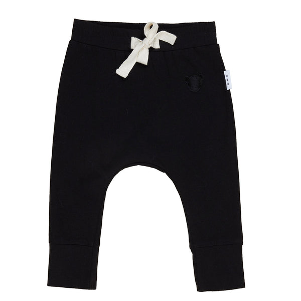 Black Jersey Drop Crotch Pant - Black