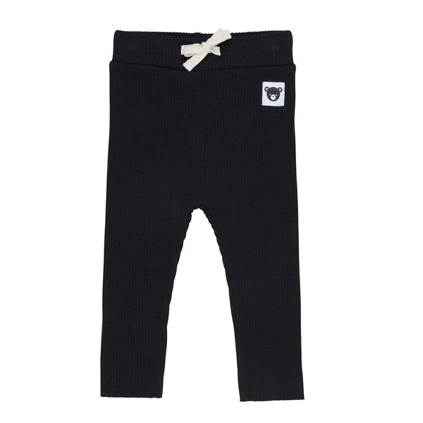 Black Rib Leggings - Black