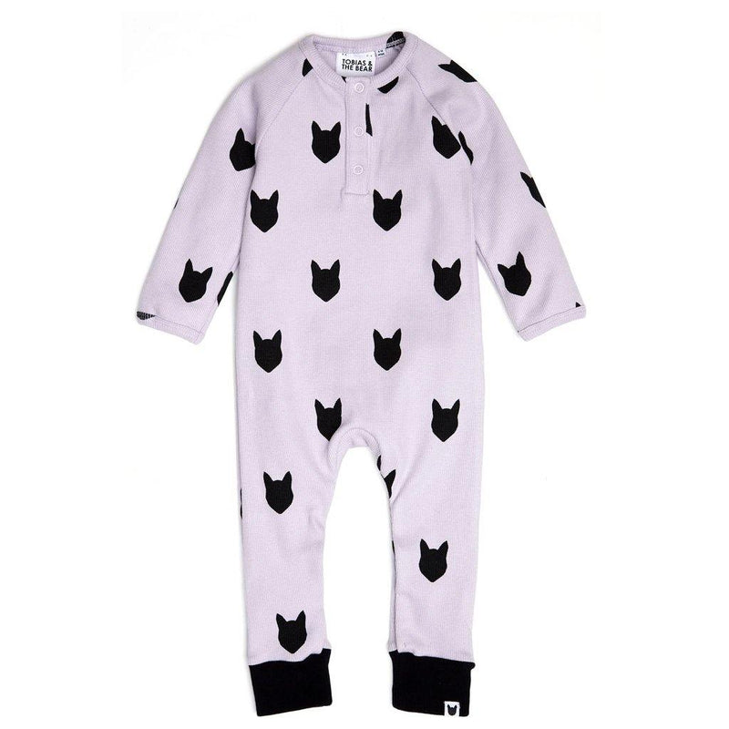 Lilac Bear Button Romper - Lilac
