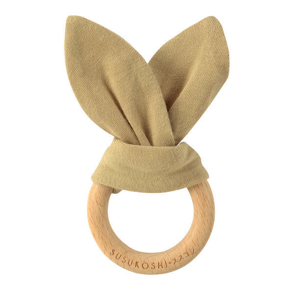 Organic Bunny Teether Toy - Milk Tea