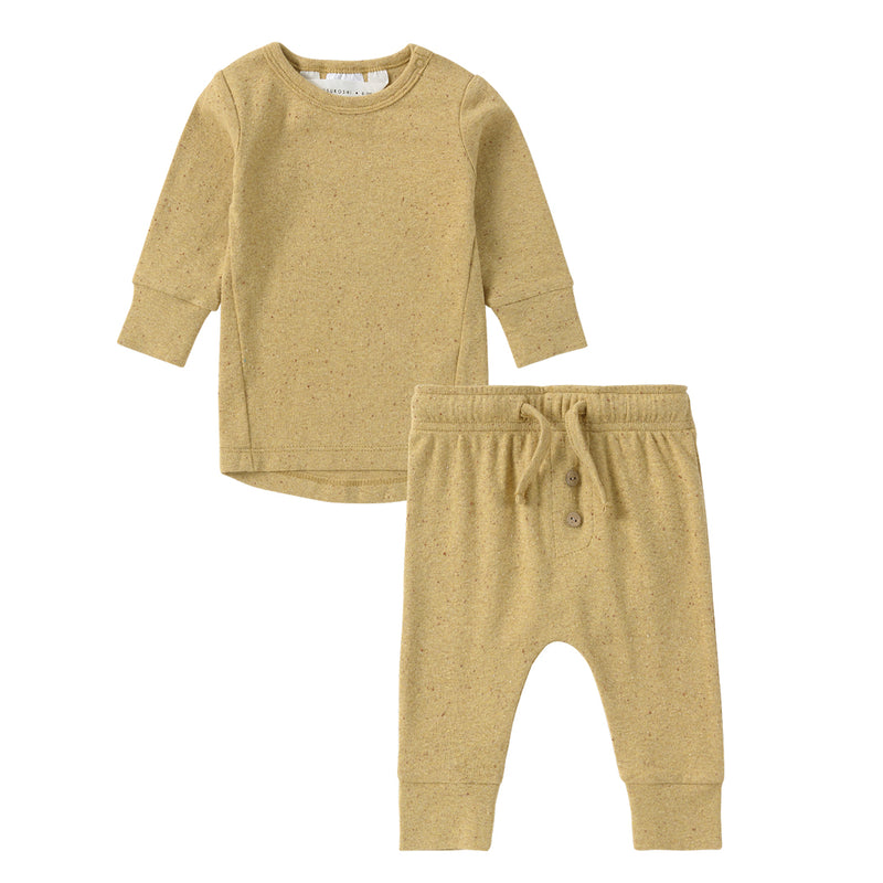 Organic Pajama L/S Pant Set - Ginger Speckled
