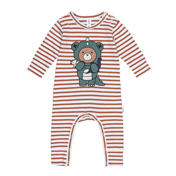 Dino Bear Stripe Romper - Terracotta/White Stripe