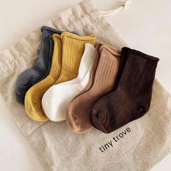 Ribbed Socks Earthy - Pack of 5 - Tim and Gerry's Sydney