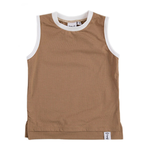 Tank Top - Clay With White Neckline