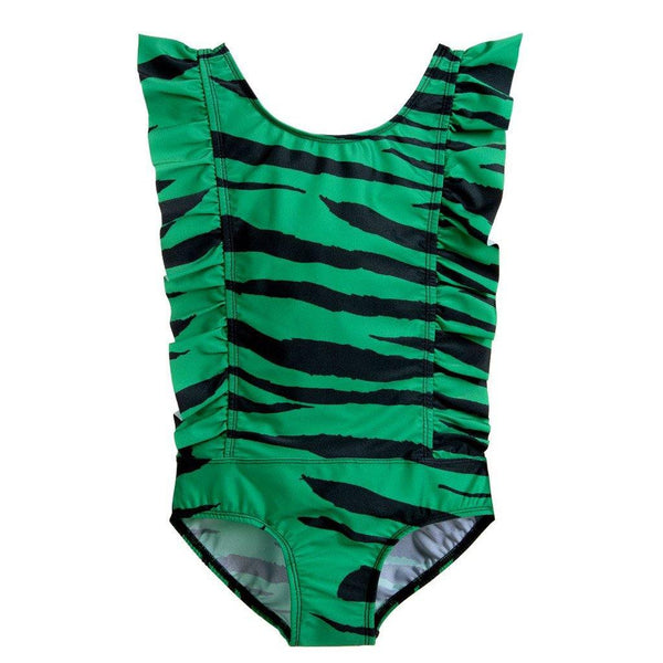Tiger Ruffled UV Swimsuit - Green