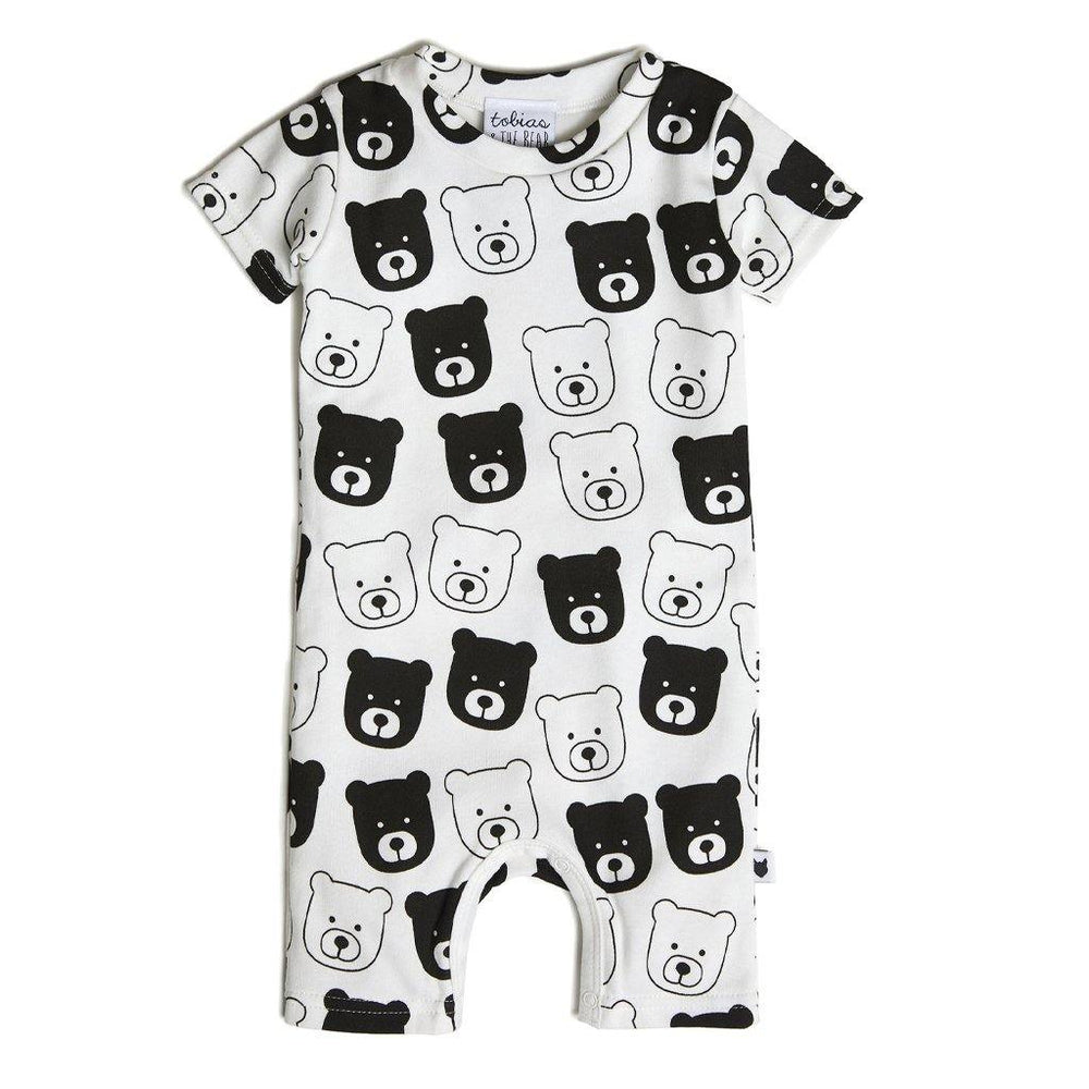 Bear Short Romper - White